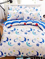 Bedtoppings Comforter Duvet Quilt Cover 4pcs Set Queen Size Flat Sheet Pillowcase Moon Prints Microfiber