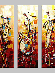 Недорогие -Hang-роспись маслом Ручная роспись - Абстракция Классика / Традиционный Только картины / 3 панели
