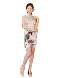 cheap -One-Piece Short Sleeve Medium Length Yellow Lolita Dress Polyester