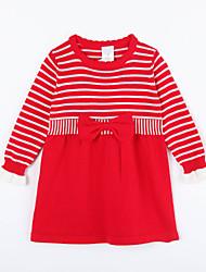 preiswerte -Kleid Pullover & Cardigan Alltag Gestreift Baumwolle Herbst Rot