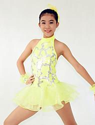 cheap -Jazz Dresses Women's Children's Performance Polyester Spandex Sequined Sequin Cascading Ruffle Paillette Flower Ruffles Sleeveless Natural