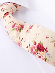 Недорогие -бежевый цветочные тощие галстуки хлопок