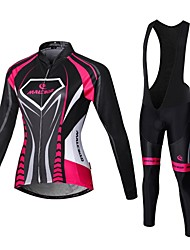 Malciklo Cycling Jersey with Bib Tights Women's Long Sleeves Bike Compression Clothing Tights Clothing Suits Quick Dry Front Zipper