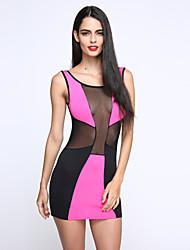 kvinders rund hals mesh mini kjole, bomuld / spandex blå / pink / hvid sexet / fest