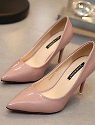 cheap -Women's Shoes Patent Leather Spring Fall Heels Walking Shoes Stiletto Heel for Dress White Black Red Green Nude