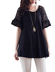 Women's Lace Going out Plus Size / Simple Blouse,Solid Round Neck Short Sleeve Black Rayon Thin