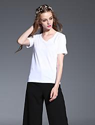 casual / diária simples pescoço v verão t-shirtsolid manga curta de algodão branco das mulheres frmz opaca