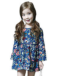 Girl's Cotton Spring/Fall Fashion Casual/Daily Floral Print Sweet Long Sleeve Princess Skirt
