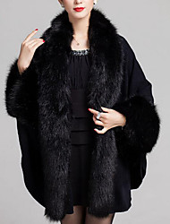 Women's Going out / Casual/Daily Vintage Cloak/Capes,Solid V Neck Long Sleeve Fall / Winter Blue / Red / Beige / Black / Purple Wool