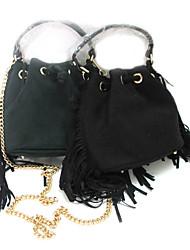 baratos -Mulher Bolsas Outono Inverno Camurça sacos de balde com Mocassim para Casual Preto Verde Escuro