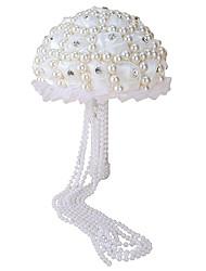 Bouquet sposa Tondo Rose Bouquet Matrimonio Partito / sera Raso Perline 20 cm ca.