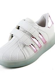 billige -Pige Sko Ruskind Sommer Komfort Sneakers Gang Magisk tape for Sort / Lys pink / Gylden