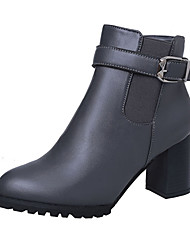 cheap -Women's Shoes PU Winter Combat Boots Chelsea Boot Comfort Boots Walking Shoes Chunky Heel Block Heel Pointed Toe Zipper for Casual Dress
