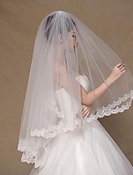 Wedding Veil Two-tier Fingertip Veils Lace Applique Edge Tulle