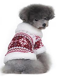 preiswerte -Hund Mäntel Pullover Hundekleidung Schneeflocke Schwarz Rot Baumwolle Kostüm Für Haustiere Herrn Damen Klassisch warm halten
