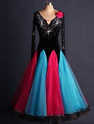 Ballroom Dance Dresses Performance Spandex Organza Crystals/Rhinestones Flower(s) 1 Piece Long Sleeve High Dress