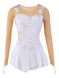 cheap -Figure Skating Dress Women's Girls' Ice Skating Dress White Spandex Lace Rhinestone Appliques Flower(s) High Elasticity Performance