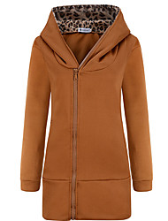 cheap -Women's Cotton Hoodie Jacket - Solid Colored
