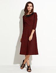 Women's Work A Line Dress,Polka Dot Round Neck / Bow Midi ½ Length Sleeve Cotton Fall