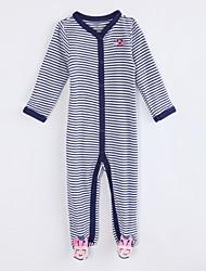 preiswerte -Baby Einzelteil Alltag Gestreift Baumwolle Herbst Langärmelige Marinenblau