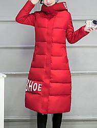 Lungo Imbottito Da donna,Cappotto Semplice Casual Tinta unita Poliestere Polipropilene Manica lunga Con cappuccioRosa / Rosso / Bianco /