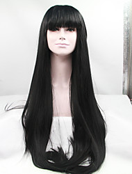 cheap -Sylvia Synthetic Lace front Wig Natural Black Heat Resistant Long Straight With Bangs Synthetic Wigs