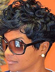 abordables -Mujer Pelucas sintéticas Ondulado Negro Peluca natural Las pelucas del traje