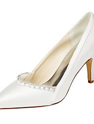 Women's Heels Spring / Fall  Stretch Satin Wedding / Party & Evening / Dress Stiletto Heel Crystal Ivory / White