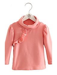 Girl's Purified Cotton Spring/Fall Fashion Solid Color Casual/Daily Turtleneck Long Sleeves T-shirt Blouse