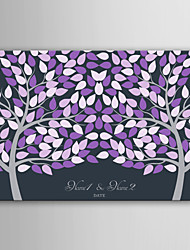E-HOME Personalized Signature Canvas invisible Frame Print -Purple Two Big Trees