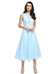 A-Line Jewel Neck Tea Length Lace Prom Formal Evening Dress with Lace by TS Couture®