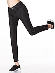 cheap -Women's Mid Rise Micro-elastic Jeans Pants,Work Casual Street chic Solid Cotton Rayon Polyester Spandex All Seasons
