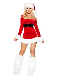 Women'S  Long Sleeve Christmas Claus Mini Dress Fancy Costume