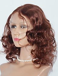 Mulher Perucas de Cabelo Natural Cabelo Humano Frente de Malha 130% Densidade Onda de Corpo Peruca médio Auburn Ruivo Escuro Médio Riscas