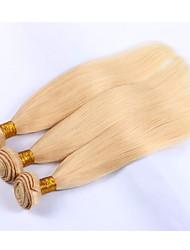 cheap -Indian Hair Straight Precolored Hair Weaves 3 Bundles Human Hair Weaves Light Blonde Human Hair Extensions