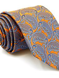 cheap -Men's Necktie Tie For Men Orange Paisley 100% Silk Jacquard Woven Business Dress Casual Wedding