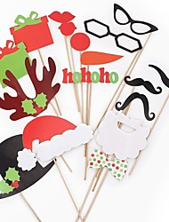 17pcs Photo Props Christmas Ornaments Christmas Cap & Red Lips & Mustache