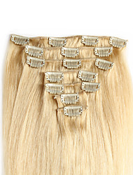 "cheap -Clip In Human Hair Extensions 20""-24"" White Blonde(#60) 8pcs/set"