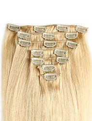 """voordelige -clip in human hair extensions 20 """"-24"""" witte blonde (# 60) 8 stuks / set"""