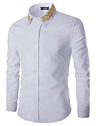 Недорогие -Муж. Рубашка, Классический воротник Однотонный Вышивка Хлопок