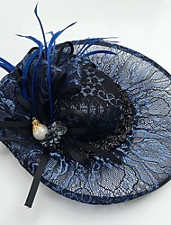 cheap -Cubic Zirconia / Lace / Feather Fascinators / Hats with Flower 1pc Wedding / Special Occasion / Casual Headpiece
