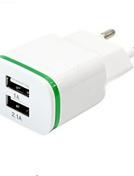 cheap -High Quality EU Plug 2.0A/1.0A Wall Charger Mini Dual Ports USB LED Light Fast Charging Power Adapter
