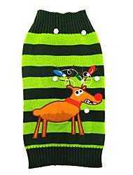 Gatto Cane Maglioni Abbigliamento per cani Fibre acriliche Inverno Romantico Natale Renna Verde Per animali domestici