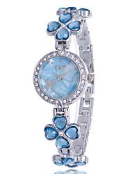 Femme Montre Tendance Bracelet de Montre Quartz Strass Imitation de diamant Alliage Bande Fleur Décontracté Elégant Rigide Argent