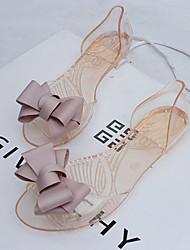 economico -Per donna Scarpe Gomma Estate Comoda Sandali Piatto / Heel Translucent Floreale Nero / Rosso / Dorato