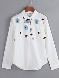 cheap -Women's Casual Plus Size Cotton Shirt - Floral Embroidered Shirt Collar