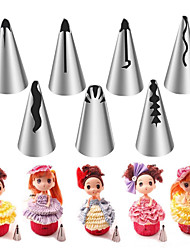 cheap -7PCS Stainless Steel Russian Nozzles Pastry Bobbi Skirt Cake Nozzles Decoration Piping  Wedding Cake Decorating Icing