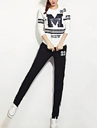 Mujer Activo Casual/Diario Con Muelle Otoño T-Shirt Pantalón Trajes,Escote Redondo Letra Manga Larga Poliéster Inelástica