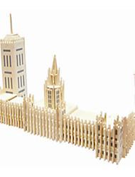 Quebra-cabeças Quebra-Cabeças de Madeira Blocos de construção DIY Brinquedos edifícios famosos / Arquitetura chinesa 1 Madeira Ivory