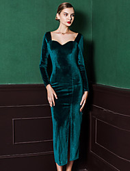 MASKED QUEEN Women's Velvet Formal Vintage Sheath DressSolid Square Neck Knee-length Long Sleeve Blue